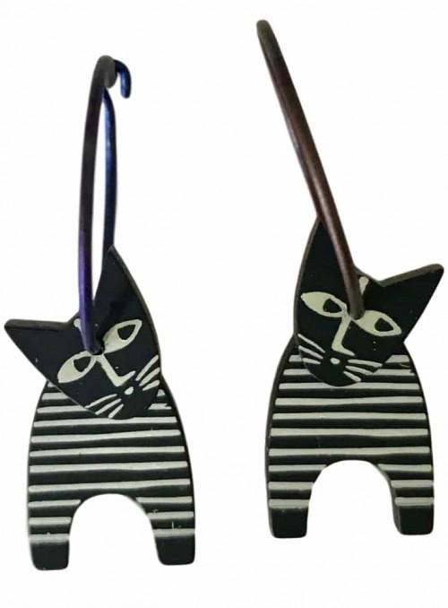 Øreringe stribet kat sort hvid