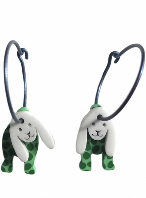 Øreringe grøn hvid