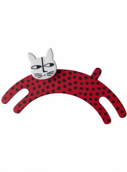 Broche springende kat rød hvid