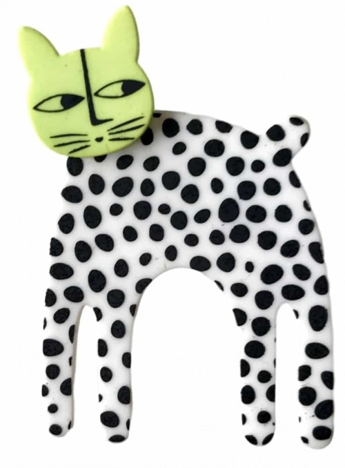 Broche stående kat lime