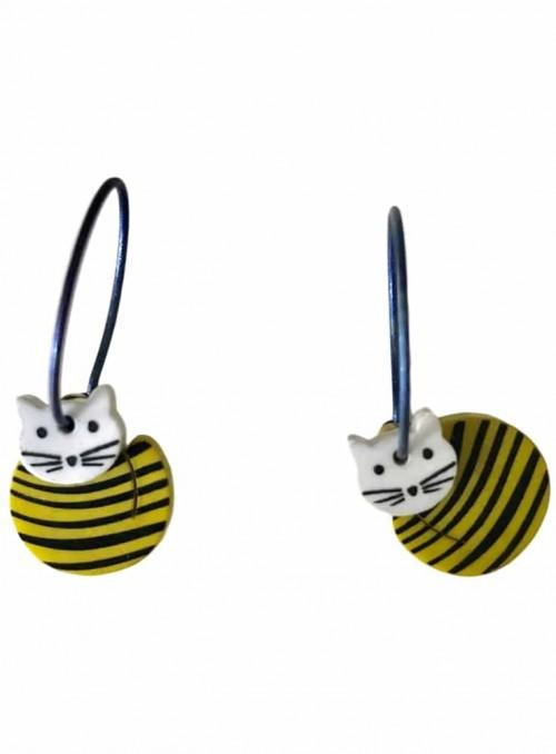 Øreringe kat med lime striber