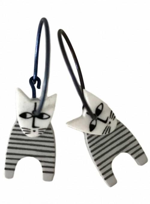Øreringe hvid kat med striber