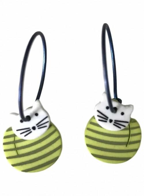 Øreringe kat med grøn og lime striber