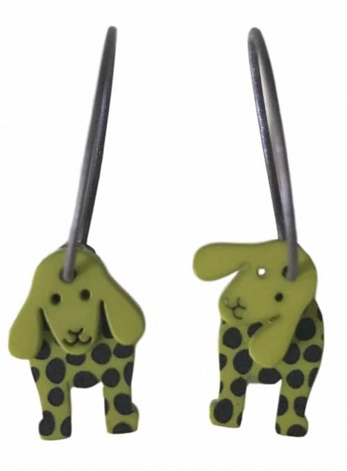 Øreringe med hunde lime