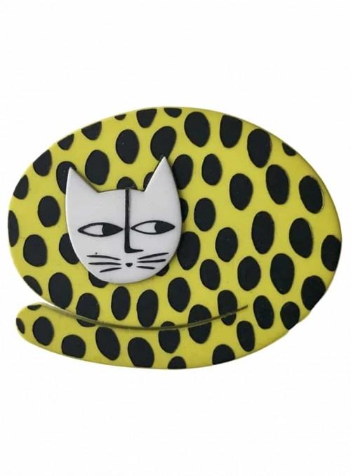 Broche sovende kat lime med prikker
