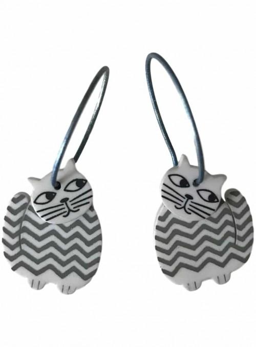 Øreringe katte hvid med grå