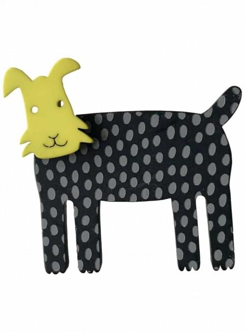 Broche hund lime grå sort