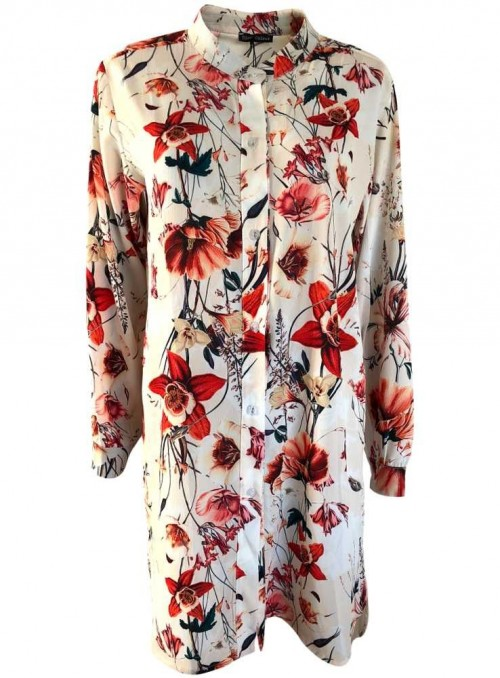 Black Colour bluse, storskjorte Floral