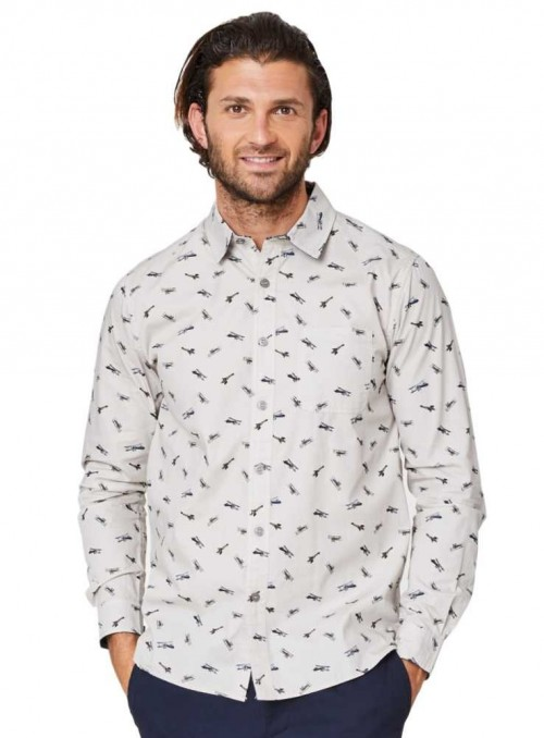 Herreskjorte øjologisk bomuld med fly, Thought