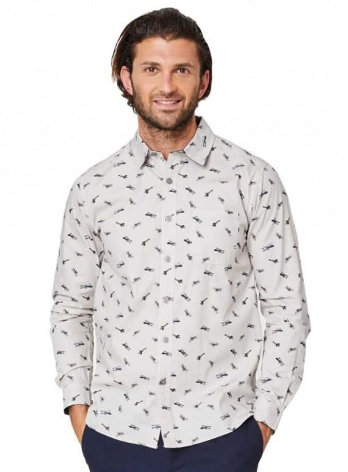 Herreskjorte økologisk bomuld med fly, Thought