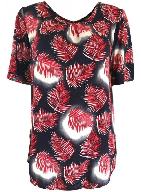 Ofelia viskose bluse med røde palmeblade, Flo HolidayMode.dk