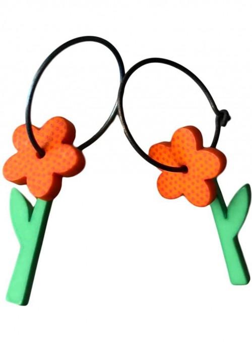 Øreringe orange blomst