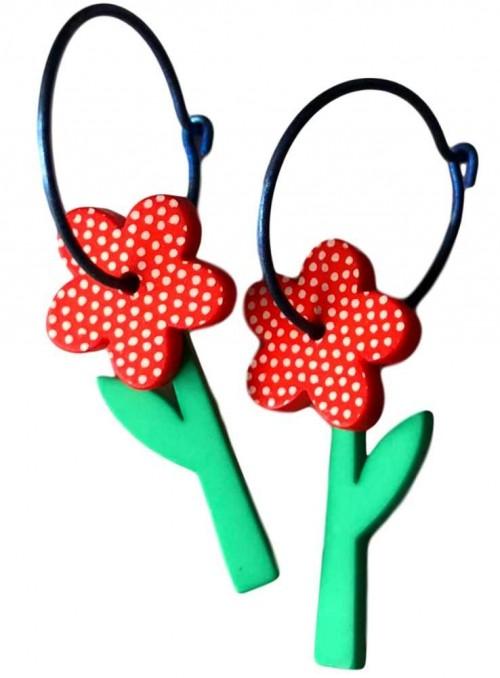 Øreringe blomst med prikker