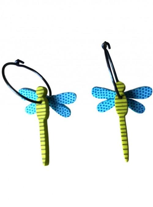 Øreringe guldsmed blå lime