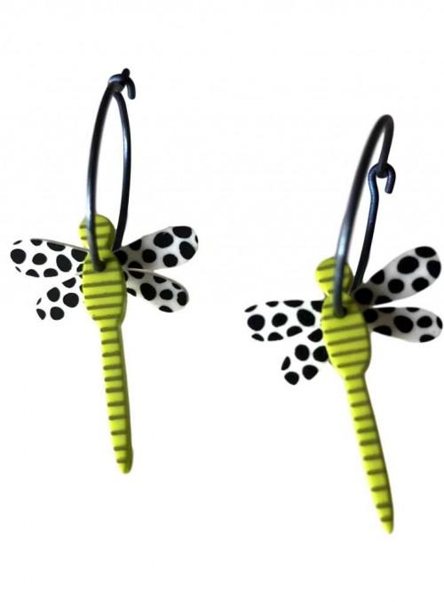 Øreringe guldsmed lime sort hvid