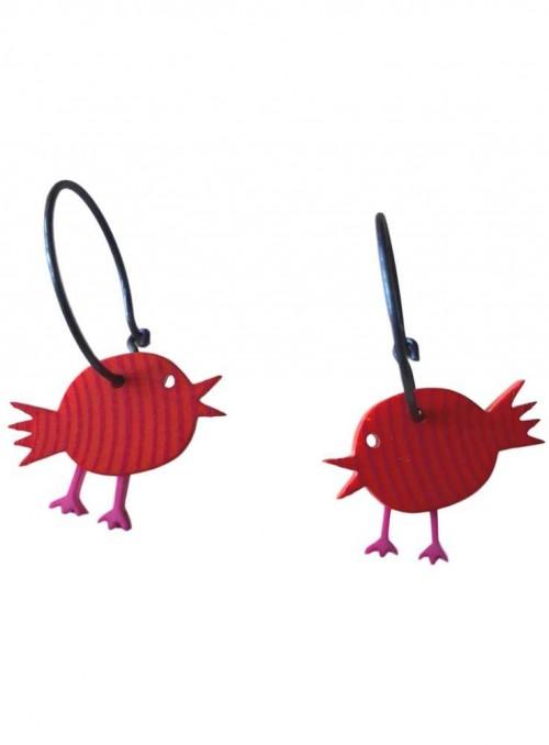 Øreringe orangerøde tykke fugle