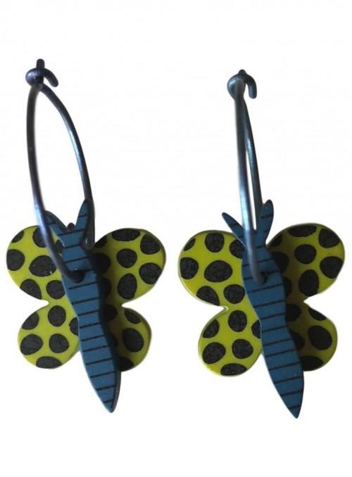 Øreringe sommerfugl petrol og lime
