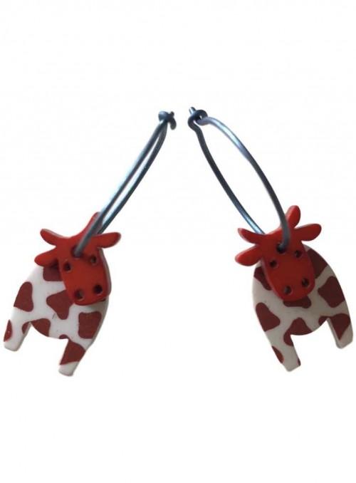 Øreringe ko rødbrun hvid