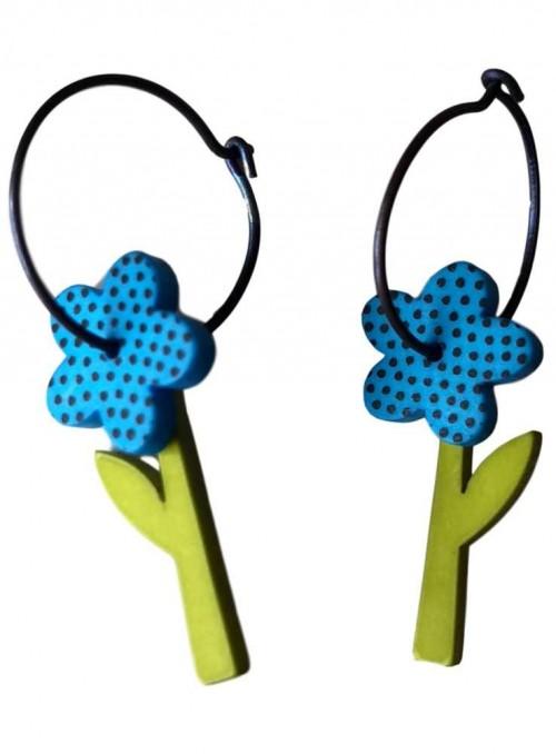 Øreringe blå blomst med prikker