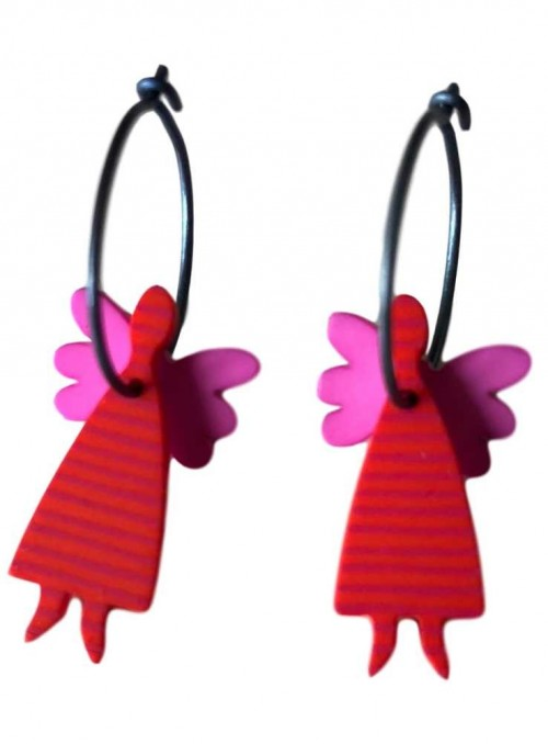 Øreringe rød engel