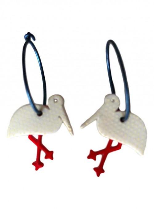 Øreringe hvid stork