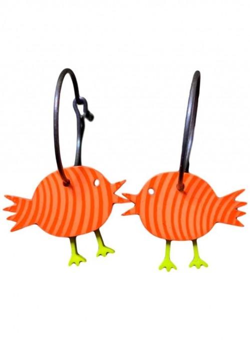 Øreringe orange fugle med striber