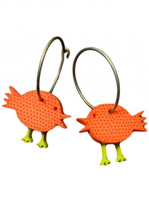 Øreringe orange fugle med prikker