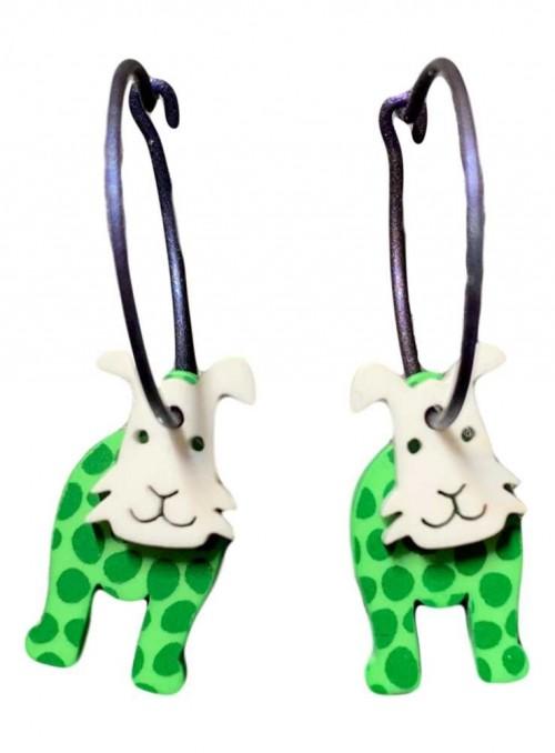 Øreringe grøn hund med prikker