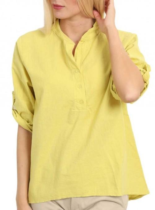 Hør Skjorte bluse gul fra Copenhagen Luxe