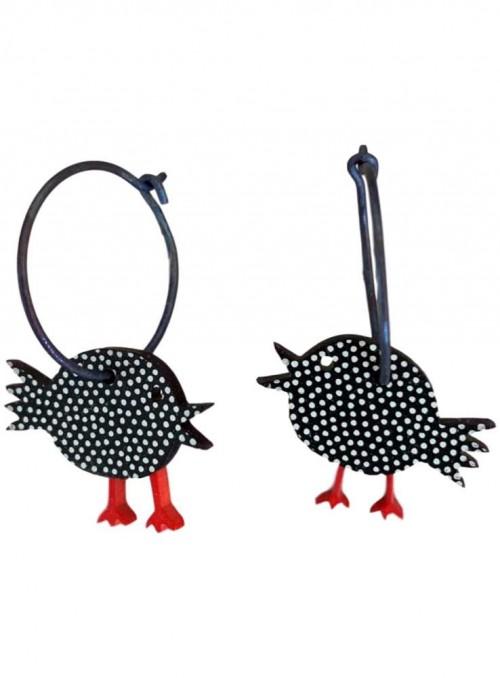 Øreringe sorte fugle med prikker
