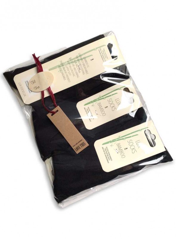 6-PAK herre bambus strømper i gavepose