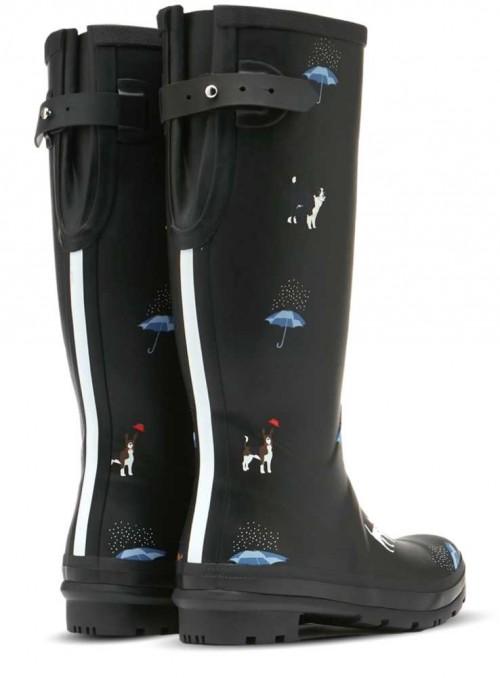 Gummistøvler Wellyprint Black Cat Dogs fra Joules