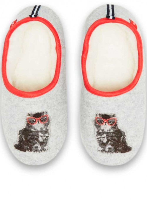 Hjemmesko tøfler Slippers Grey Cat