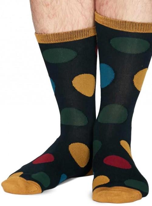 Bambus sokker blå med prikker, med økologisk bomuld, håndketlet tå, Thought