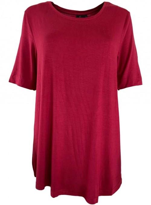 Bambus dame T-shirt Rød, rund hals