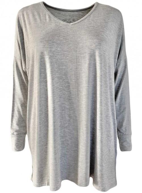 Bambus bluse grå langærmet