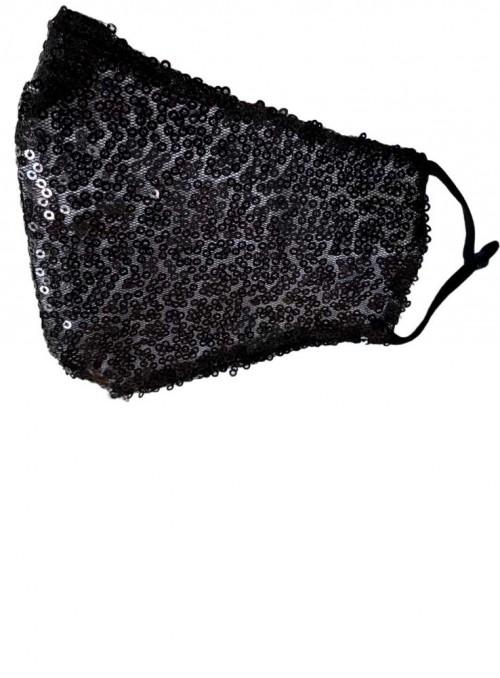 Mundbind, mode-maske 2 lag sorte pailletter, fra Black Colour