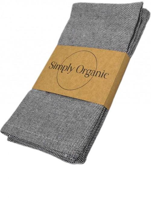 2 pak økologiske viskestykker bomuld Oxford Asphalt Grey fra Simply Living
