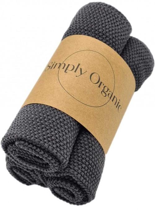 3 pak økologiske karklude bomuld Dishcloth Asphalt Grey fra Simply Living