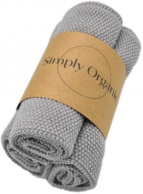 3 pak økologiske karklude bomuld Dish Cloth Rock Grey fra Simply Living