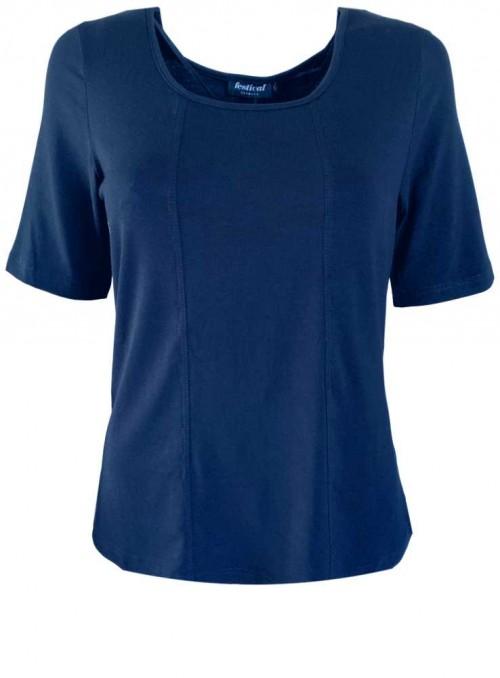 Bambus T-shirt str. XXL-4XL kortærmet mørkeblå fra Festival