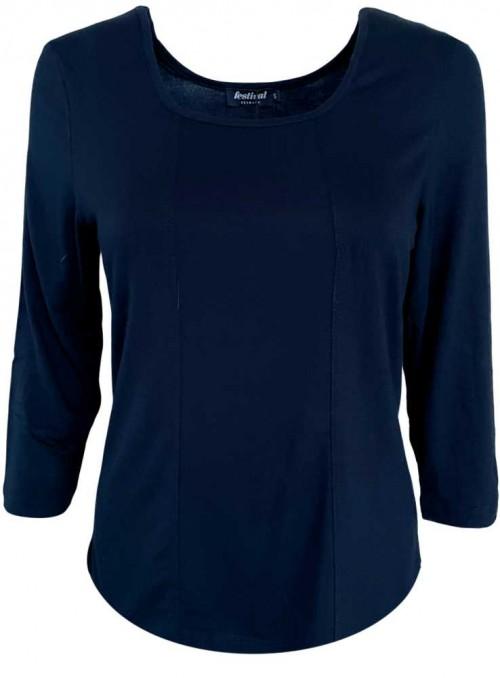 Bambus T-shirt str. S-4XL med 3/4 ærmer, mørkeblå fra Festival
