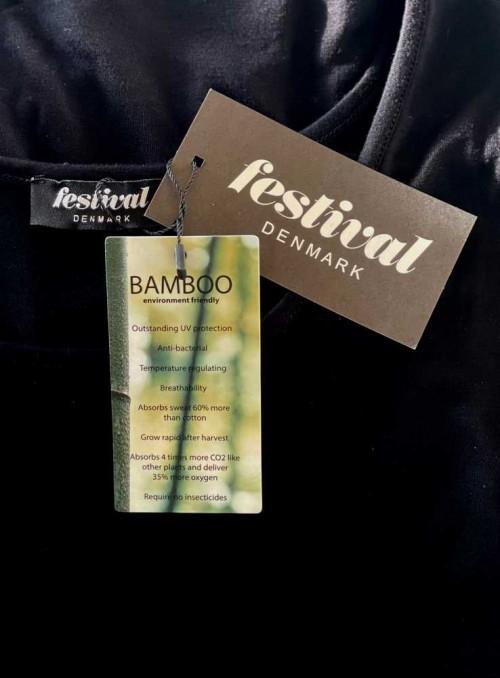 Bambus T-shirt str. S-4XL med 3/4 ærmer, sort fra Festival