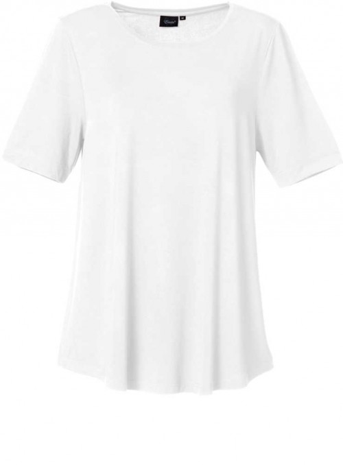 Bambus dame T-shirt hvid, rund hals