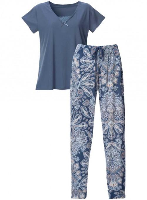 Pyjamas-sæt bambus-jersey 2 dele kortærmet top og mønstrede bukser