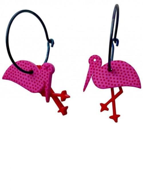 Øreringe pink flamingo