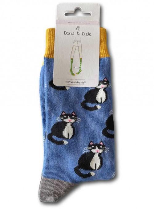 Bambusstrømper dame med økologisk bomuld, Blue Cat fra Doris & Dude