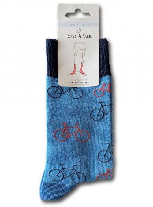 Bambus strømper str. 41-46 Blue Bike m. økologisk bomuld, håndketlet tå fra Doris & Dude