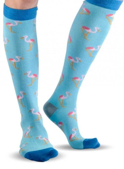 Knæstrømper Blue Flamingo af bambus og økologisk bomuld, håndketlet tå