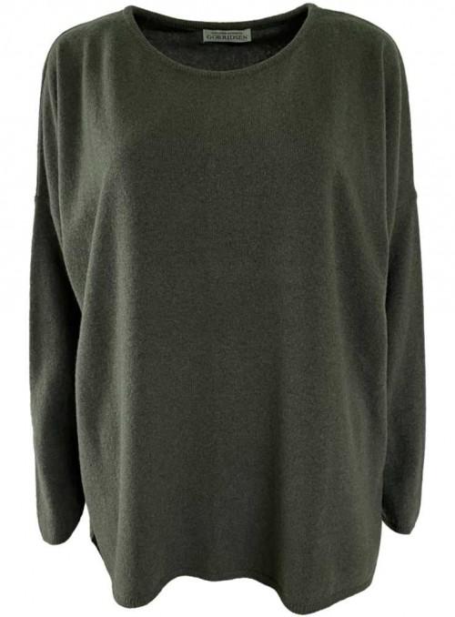 Strik sweater fra Gorridsen Design model Stella O-neck Khaki